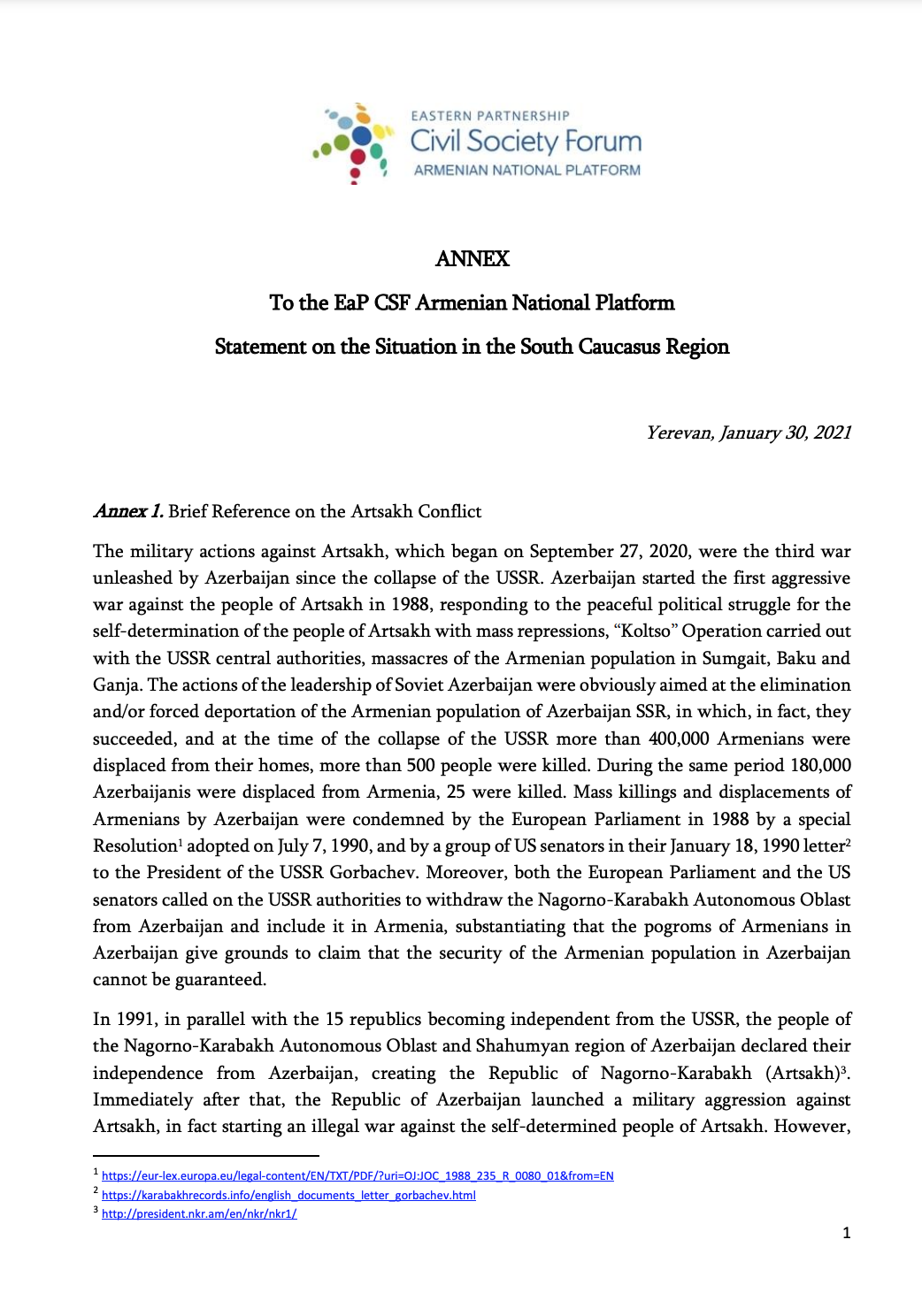 EaP CSF Armenian National Platform Statement on the Situation in the South Caucasus Region